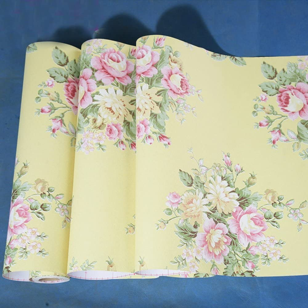 Yifely Retro Peony Floral Furniture Paper Yellow Peel & Stick Shelf Liner Dresser Drawer Sticker 17.7 Inch by 9.8 Feet