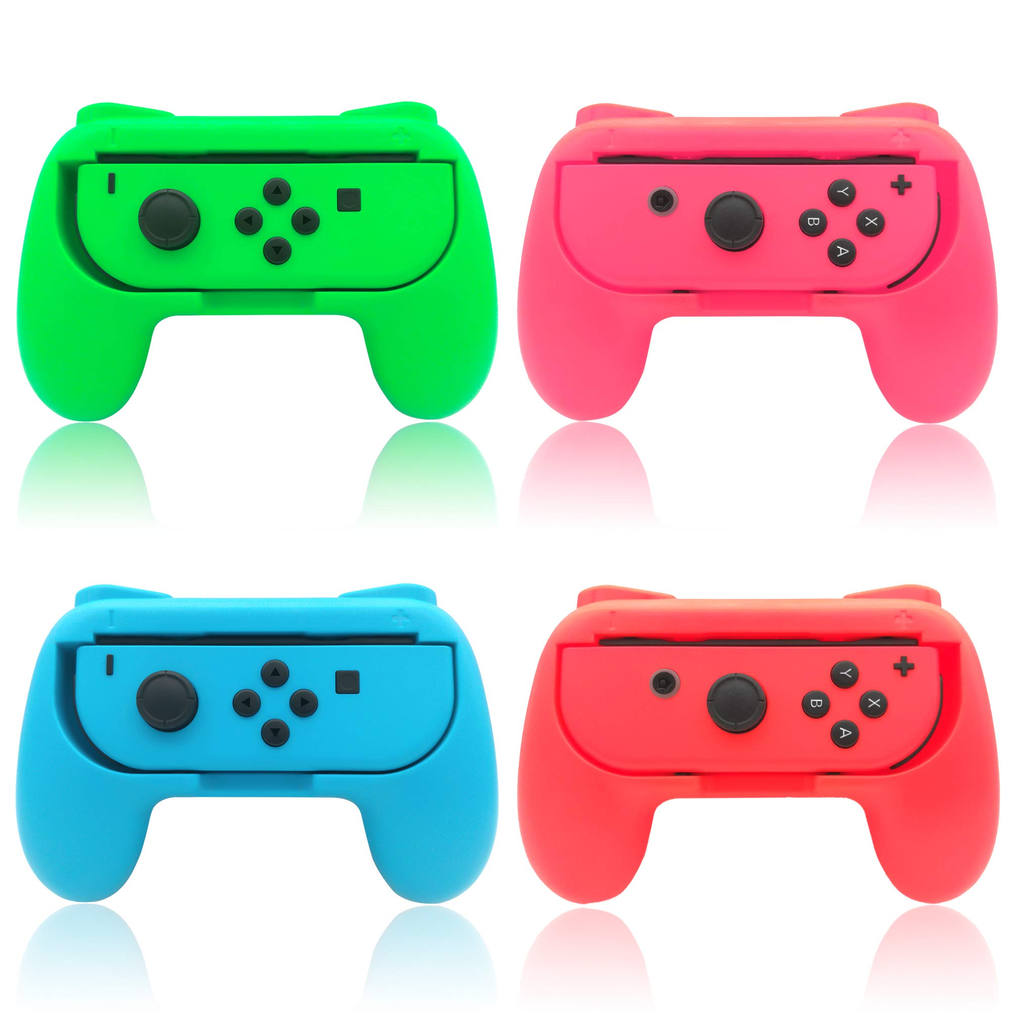 Grips for Nintendo Switch Joy-Con,FYOUNG Hand Grips Controllers for Nintendo Switch Joy Con (4 Pack)(Red-Blue-Green-Pink) by FYOUNG