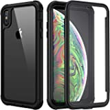 Seacosmo iPhone Xs Max Case, [Built-in Screen Protector] Full Body Clear Bumper Phone Case Rugged Shockproof Protective Case