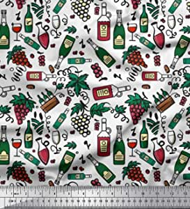 Soimoi Fabric Bottle /& Wine Glass Bar Decor Fabric Printed Meter-BR-509B