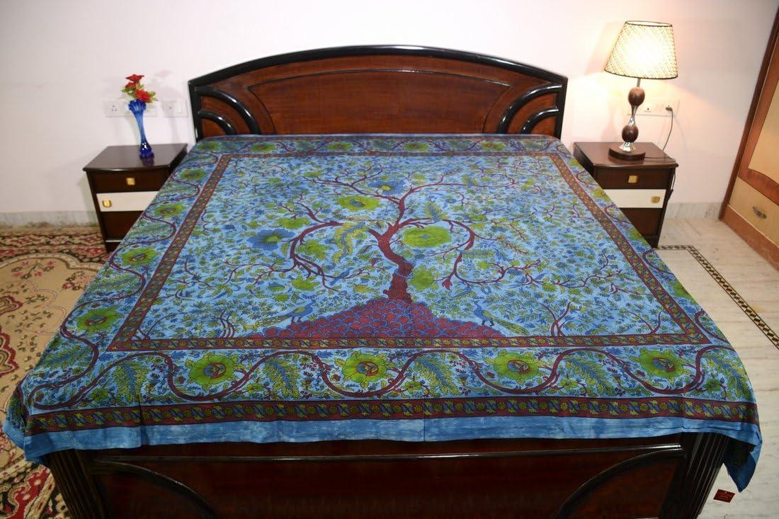 Sarjana Handicrafts King Size Cotton Flat Bed Sheet Floral Print Bedspread Bedding Dark Blue