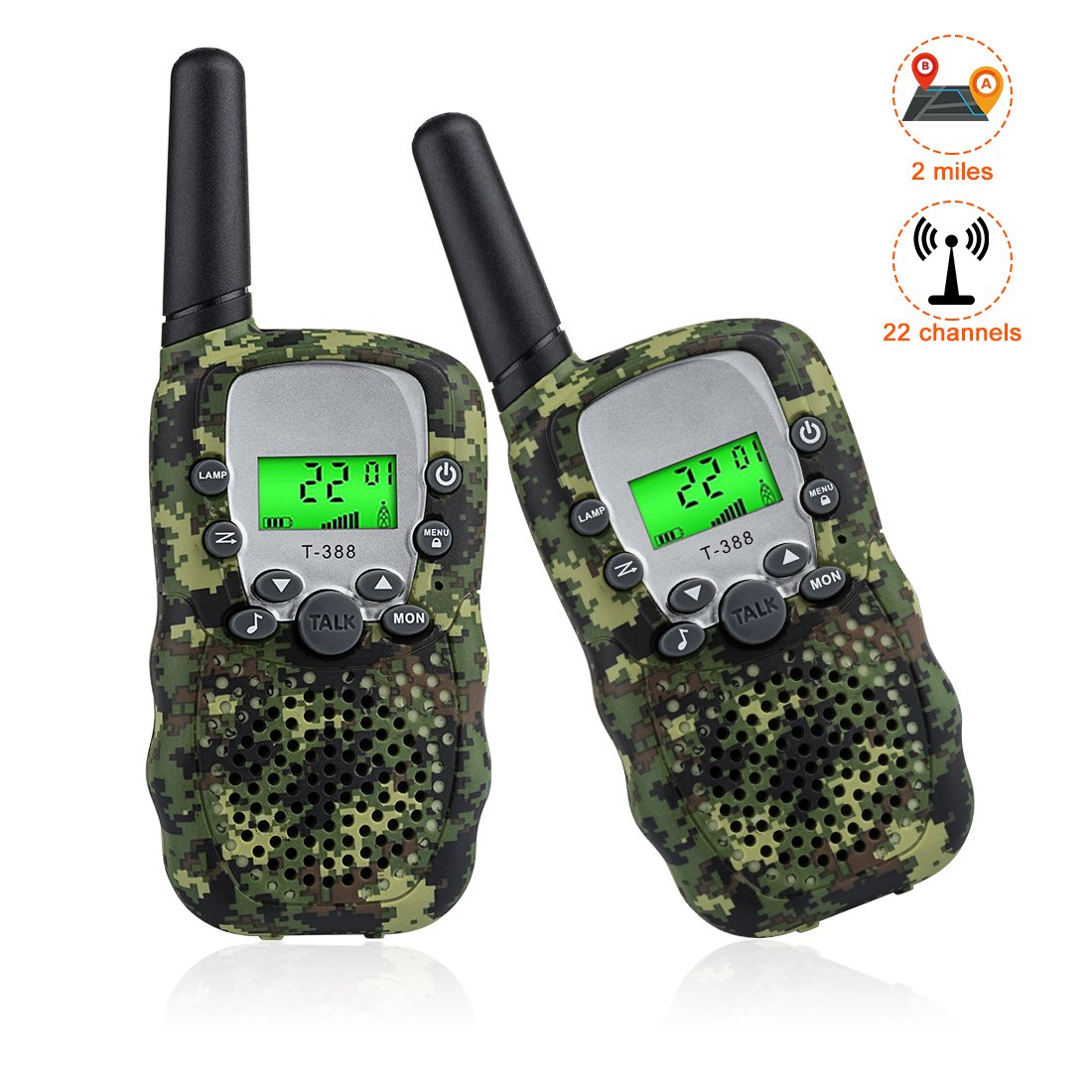 25 AURUZA Walkie Talkies for Kids Camo Two Way Radio with 3-Mile Long Range and 22 Channels Pre-Kindergarten Toy Interphone Rechargeable for Boys and Girls Outdoor and Indoor Games Manufacturer