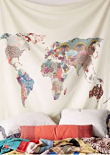 Floral world map tapestry headboard wall art bedspread dorm tapestry floral world map wall hanging map tapestry fabric wallpaper home decor60x 80 gumiabroncs Images