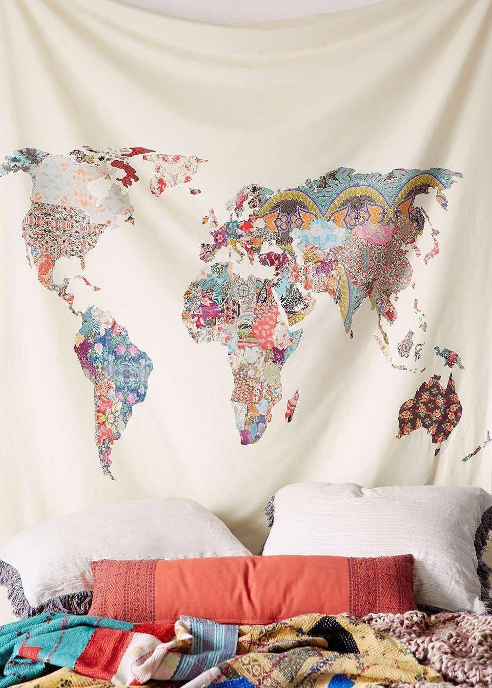 Floral World Map Tapestry Headboard Wall Art Bedspread Dorm Tapestry,60''x 60'',Twin