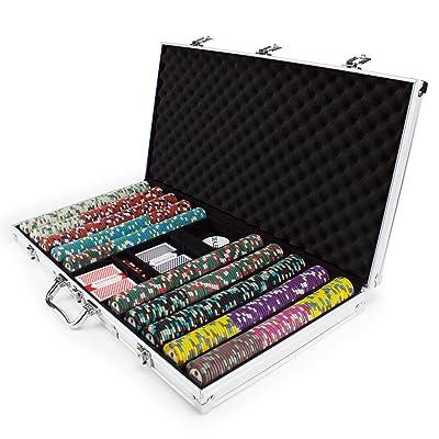750 CT Showdown Poker Chip Set en ALUMINIO funda de transporte, 13.5-gram Heavyweight arcilla compuesto por Claysmith Gaming: Deportes y aire libre