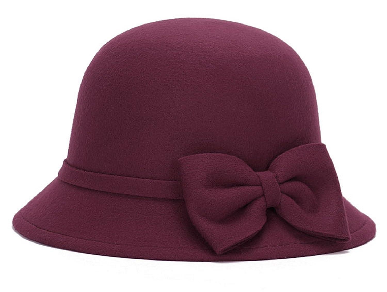 Brcus Women Wool Felt Church Cloche Cap Bucket Bowler Hat Cap Band W Large  Bow Black at Amazon Women s Clothing store  6579ec68e47
