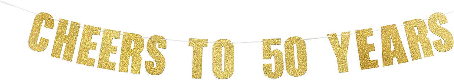 Prazoli 50th Birthday Banner - 50 Birthday Decorations & Happy 50th Anniversary Decor | 50th Birthday Decor | Fifty Year Old Bday Party Cheer to 50 Years Backdrop for Gold & Black Wedding Supplies