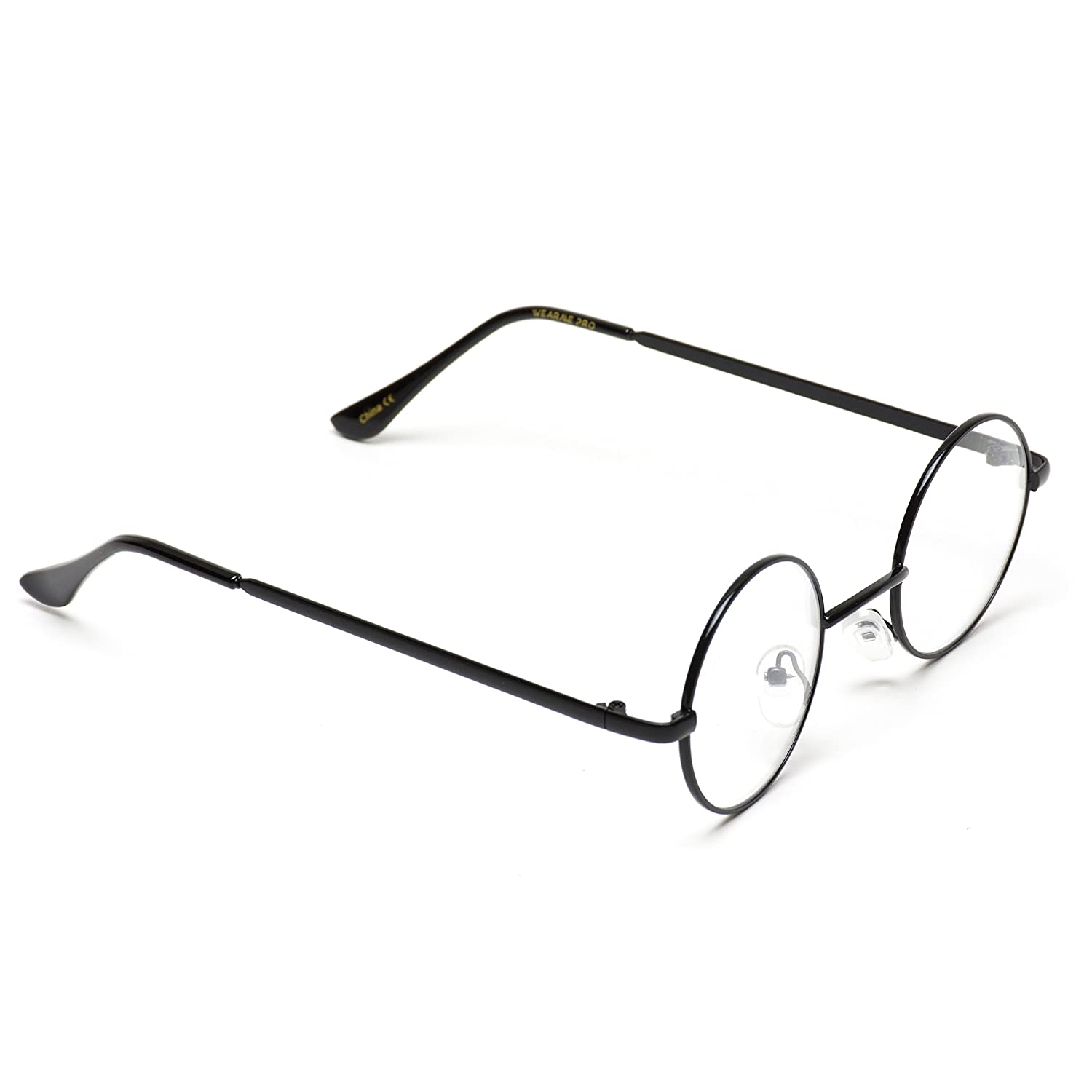 91402fdc8 Amazon.com: Round Clear Metal Frame Glasses: Clothing