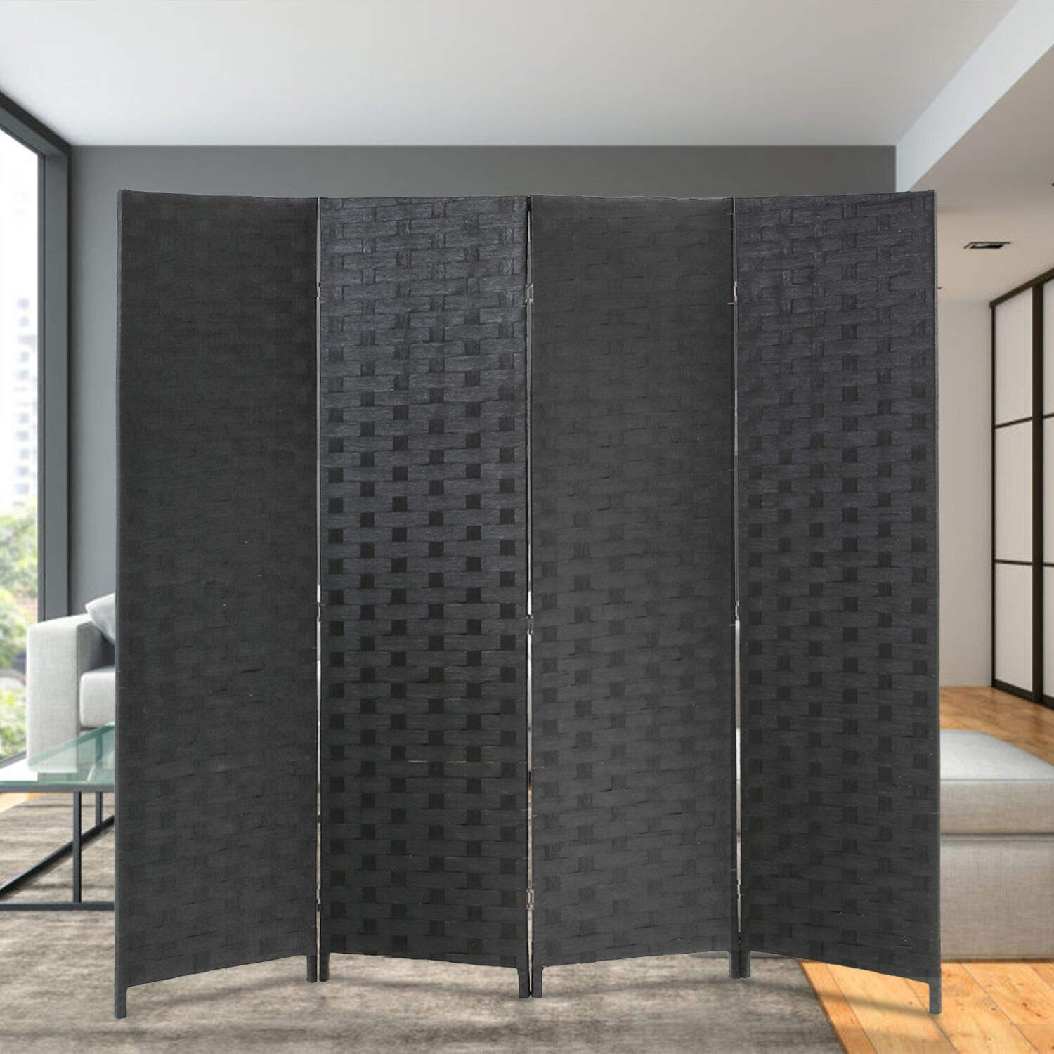 Room Divider Wood Screen 4 Panel Wood Mesh Woven Design Room Screen Divider Folding Portable Partition Screen Screen Wood For Home Office by FDW