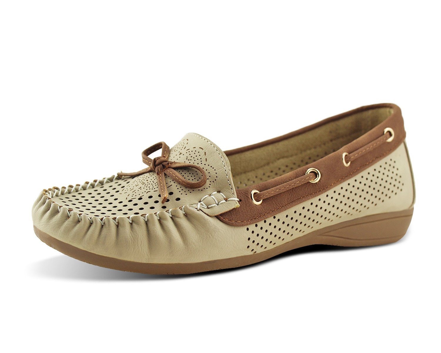 Jabasic Lady Comfort Slip-on Loafers Hollow Driving Flat Shoes(9,Beige-1)