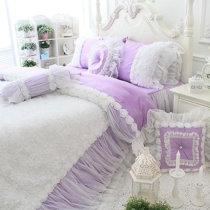 Amazon Com Kepswet 4pc Elegant Purple Bedding Sets Cotton