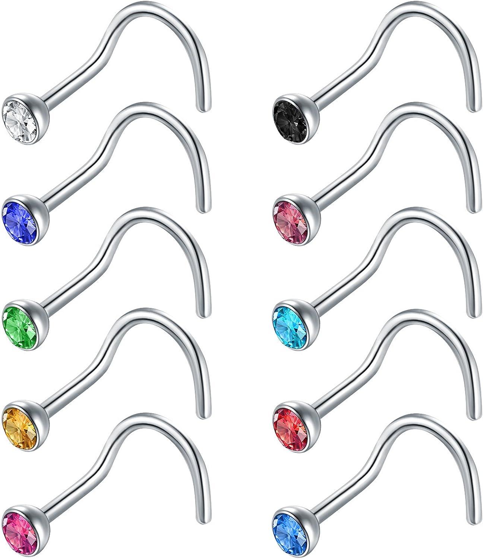 Zolure 20 Gauge Anillo de la Nariz Tornillo de narizs Espiral Acero quirúrgico Joyería Piercing