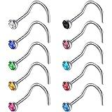 Zolure 6-24stk Nasenpiercing Ring Set 316L Chirurgenstahl Nasenring Nasenstecker 18 Gauge Piercing Schmuck