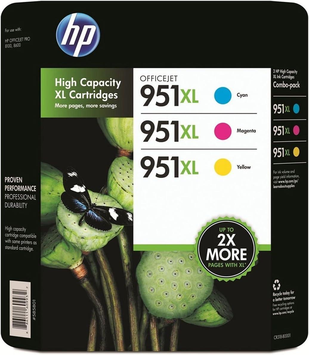 HP 951XL Color Ink Cartridge - Combo Pack (Magenta, Yellow, Cyan ...