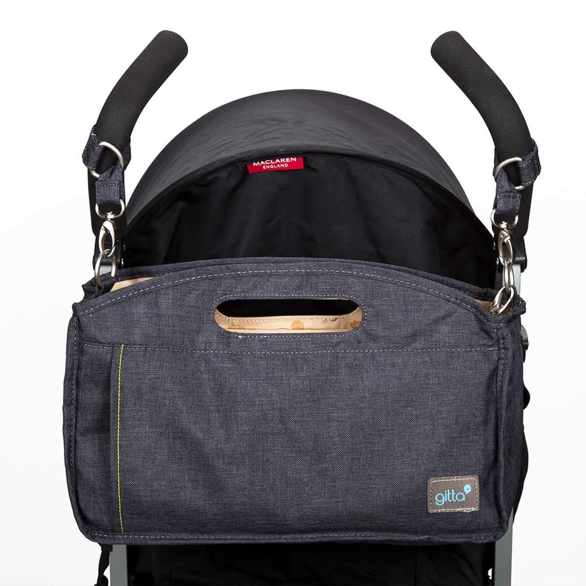 Gitta Stroll Baby Stroller Organizer Storage Holder Bag, Dark Blue Denim