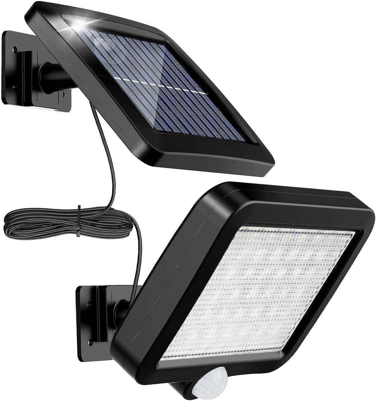 Lámpara Solar Para Exterior, MPJ Lámpara Solar 56 Led Para Exteriores Con Detector De Movimiento, Resistente Al Agua Ip65, Ángulo De Iluminación De 120°, Lámpara Solar De Pared Para Con Cable De 16ft