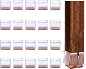 Chair Leg Floor Protectors with Felt Pads 20 Pack, Clear Square Furniture Leg Caps, Table Chair Glides Feet Covers, Fit Square Length 1-1/2 to 1-5/8 inches (36mm-41mm)
