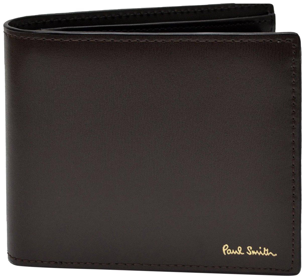 [名入れ可] ポールスミス Paul Smith 正規品 本革 シティエンボス 二つ折り財布 ショップバッグ付 ウォレット B01LEU787W 刻印あり|チョコ チョコ 刻印あり
