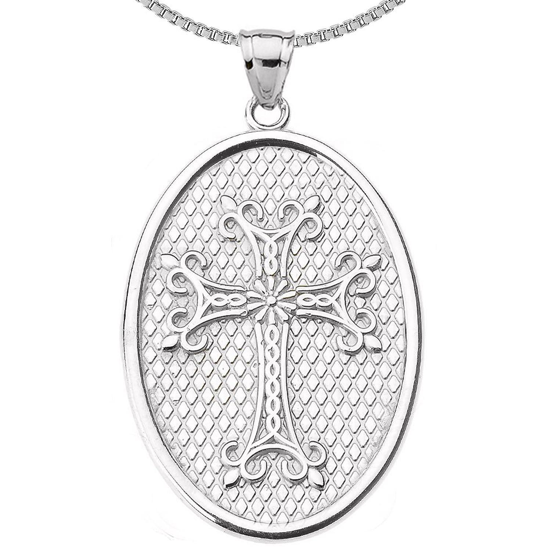 925 Sterling Silver Armenian Cross Oval Pendant Necklace