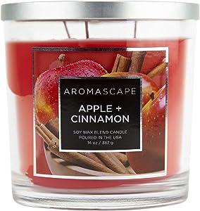 Aromascape PT411293-Wick Scented Jar Candle, Apple & Cinnamon,14 Ounce