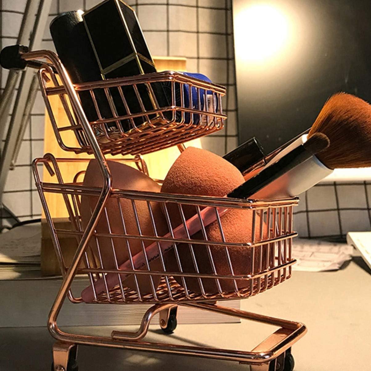 Cabilock Mini carrito de compras de 2 niveles simulador carrito de supermercado carrito de almacenamiento organizador de cesta para joyer/ía cosm/ética oro rosa