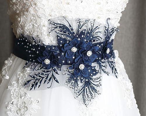Navy wedding sash, Dark blue lace belt