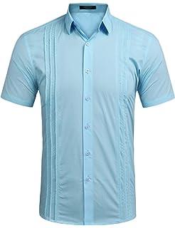 0d6742eb COOFANDY Men's Long Sleeve Cuban Guayabera Shirt Embroidered Button-Down Dress  Shirts