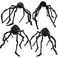 Holiday George Halloween Hairy Spiders for Scary Halloween Decorations, Inside and Outside Halloween Decorations Realistic Spiders 4 Pack 2-47″ 2-36
