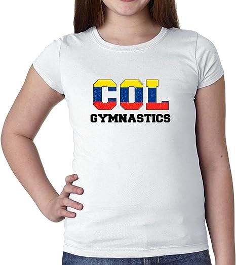 Colombia gimnasia – olímpico juegos – Rio – Bandera para niña de algodón juventud camiseta: Amazon.es: Ropa y accesorios