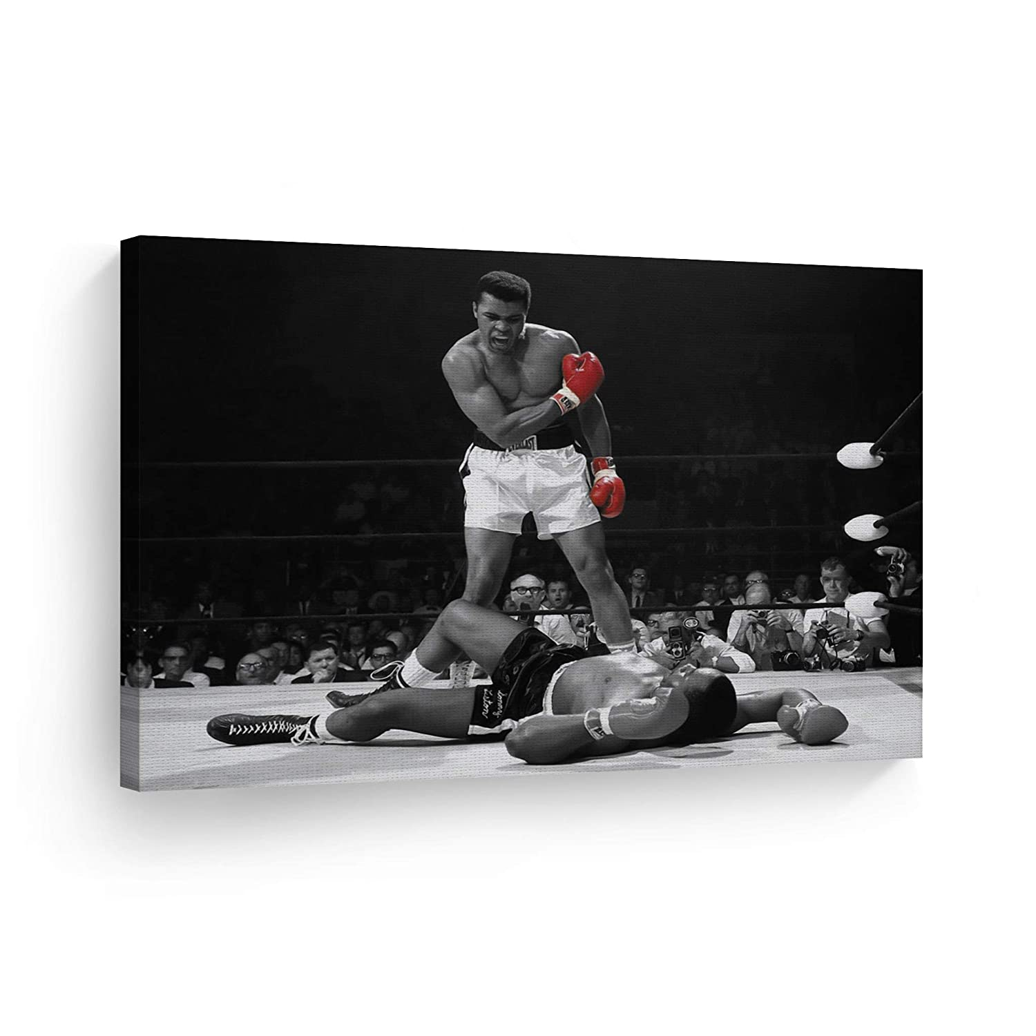 Smile Art Design A Famous Picture Muhammad Ali vs Sonny Liston Red Gloves Canvas Print First Minute First Round Knockout Art Wall Decor Artwork Ready to Hang%100 Made in The USA 24x36