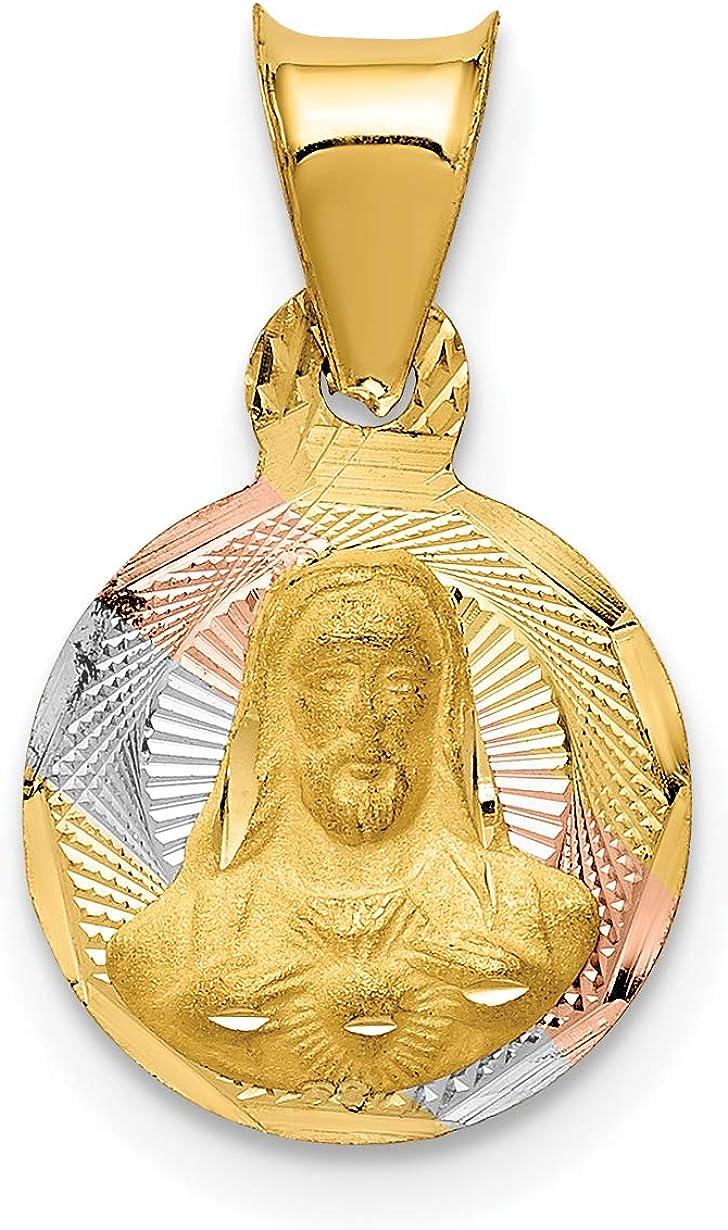 14K Tri Color Gold Sagrado Corazon de Jesus Pendant Necklace