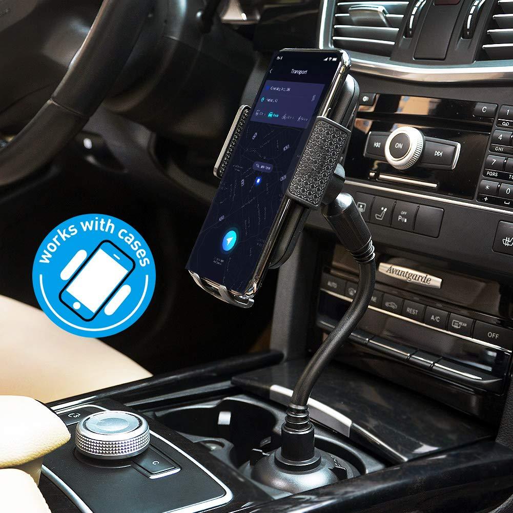 Elekpopu Auto Handyhalterung Getränkehalter, Universal 360° Drehbare Einstellbare Schwanenhalsschale KFZ Handyhalter Kompatibel mit iPhone XS Max Android für Limousine, SUV