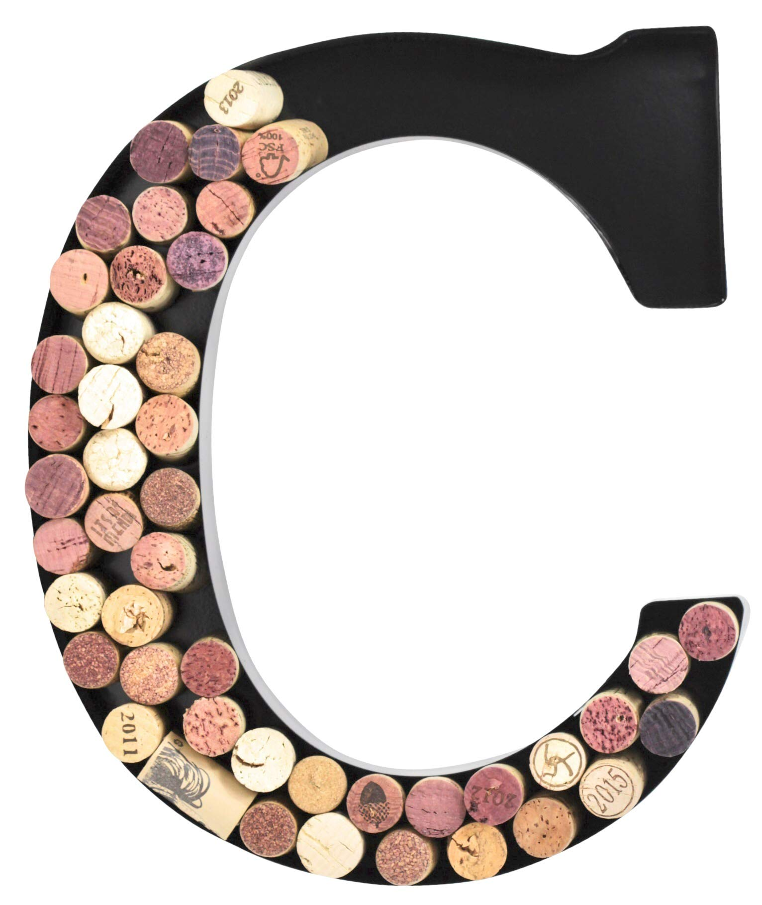 Metal Letter Wine Cork Holder Monogram w/Free Wall Mount Kit A-Z, (C) by Made Easy Kit