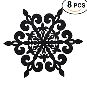 Coasters Set Of 8 Felt Absorbent Snowflake Coaster For Drinks   Desktop  Protection Prevent Furniture Damage