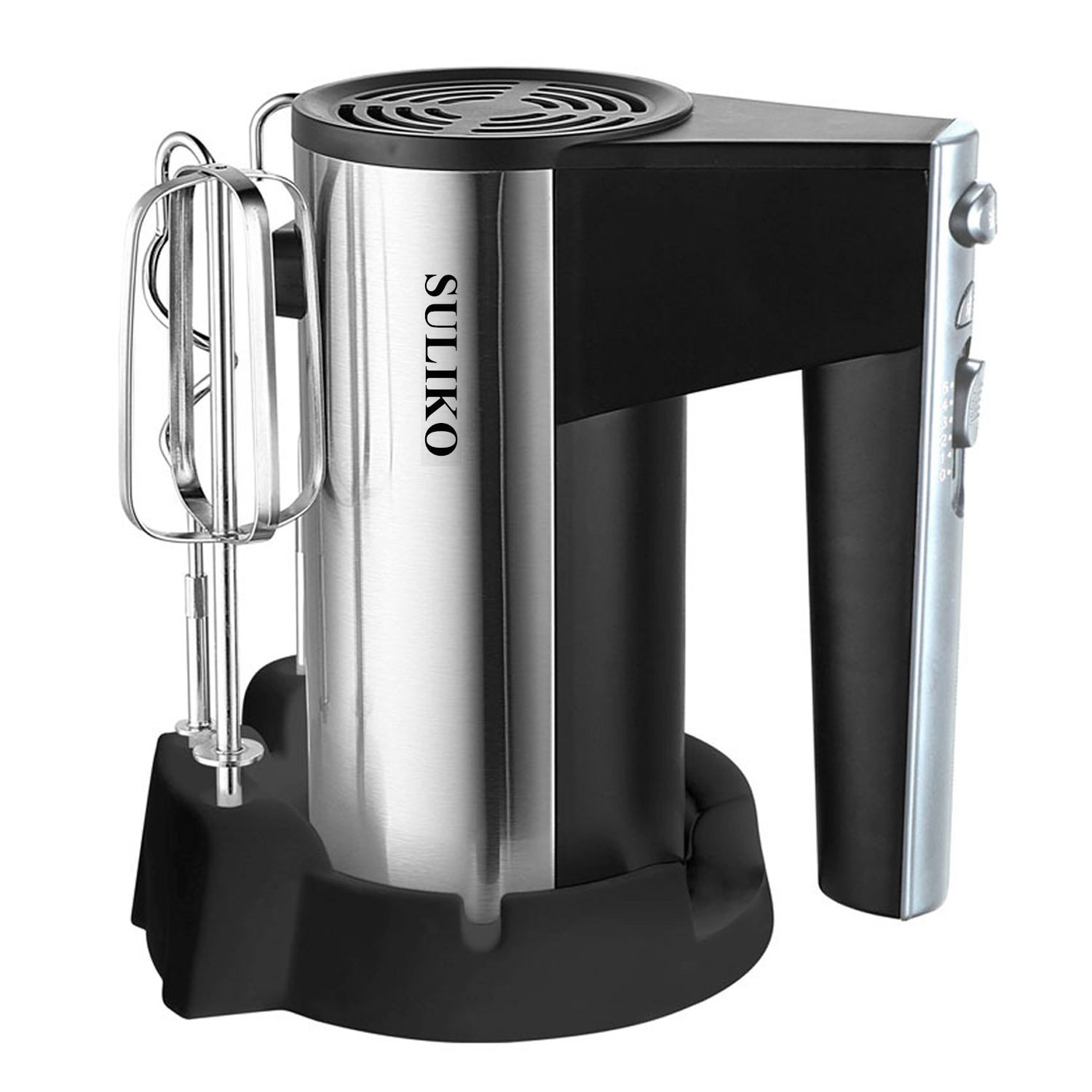 Electric Hand Mixer, Suliko Stainless Steel Mixer Electric 200W 5 Different Speed Settings and Turbo Button with Sturdy Beaters and Dough Hooks, Silver【1 Year Warranty】