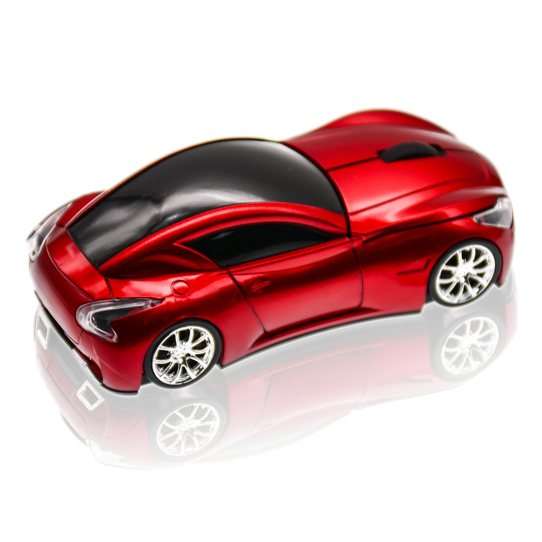 JLER 2.4GHz Sports Car Shape Wireless Ergonomic Mice Optical Mouse for PC (red)