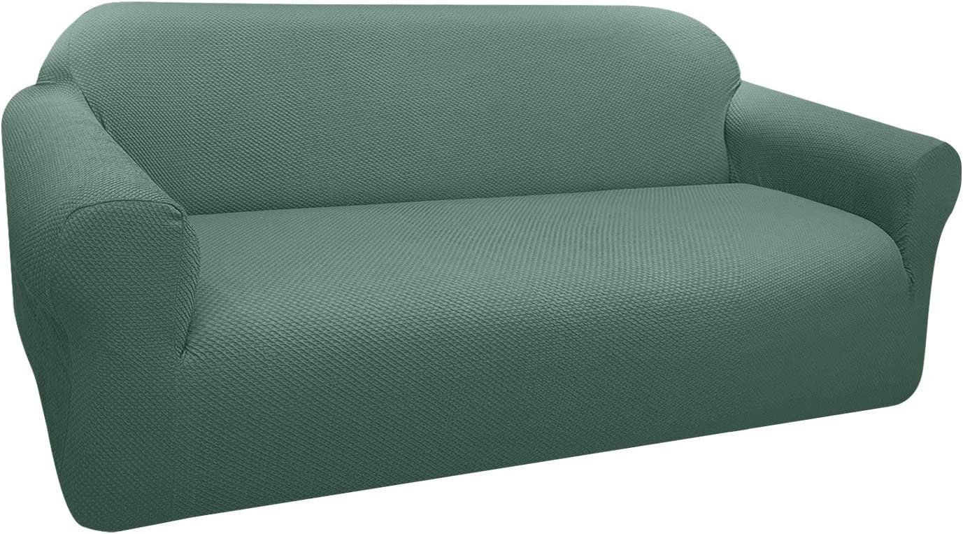 FAHUA Thick Couch Covers for 3 Cushion Couch 1-Piece Stretch Sofa Cover Slipcover Jacquard Non-Slip Furniture Protector for Dogs Pets Kids (Large, Matcha Green)
