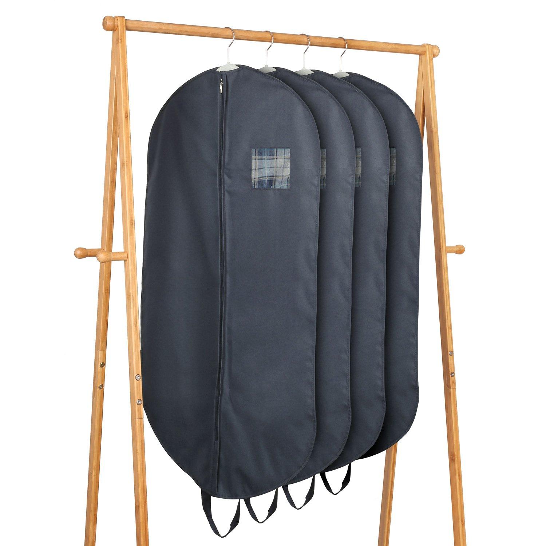 HOMFA Fundas para Trajes Porta Trajes con Asas Transpirable Funda de ropa 4 Unidades Poliéster 100*60cm
