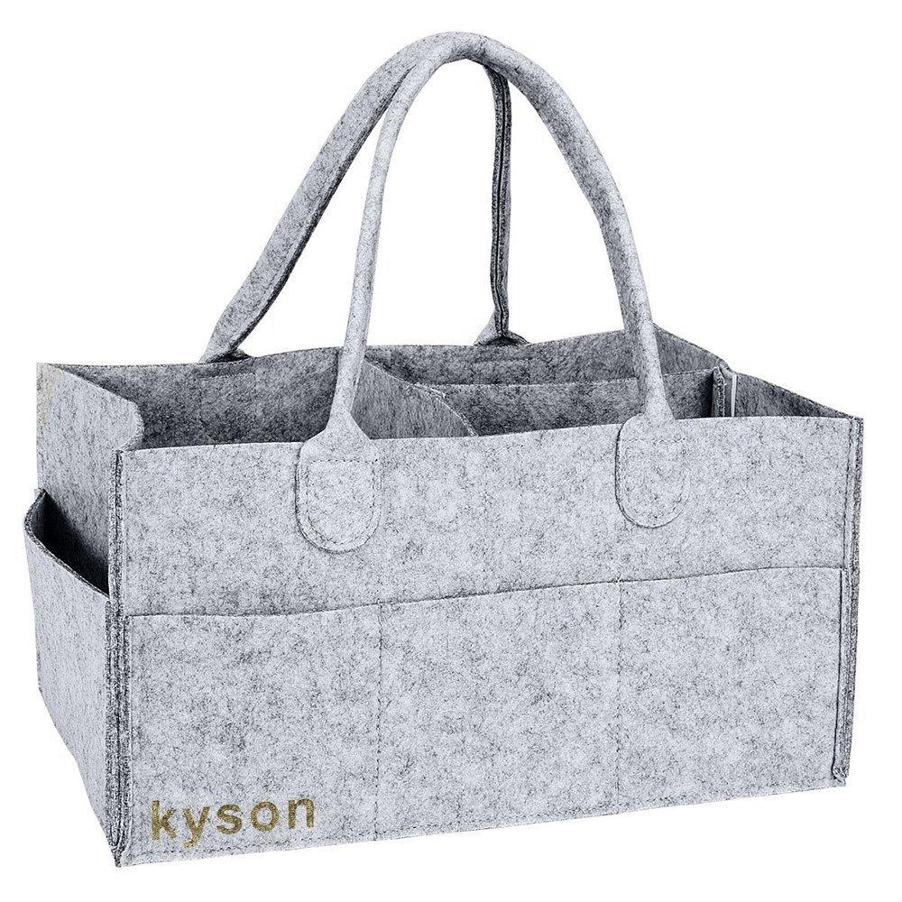 Kyson Windel Caddy Kindergarten Lagerplatz Filz Korb Windeln Organizer Baby Wipes Tasche, veränderbare Fächer, grau Haichen WL-BY0043