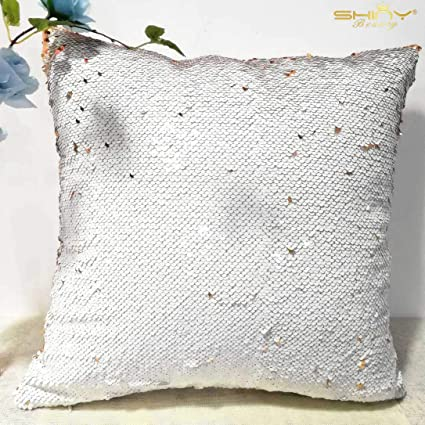 ShinyBeauty Mermaid Pillow case Rose Gold Off White Mermaid Sequin Pillow 16x16-inch cojines Azul Turquesa para Sofa Flip Glitter Pillow