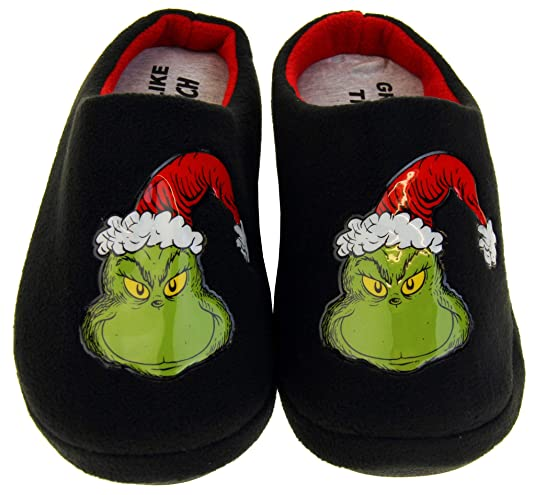 Grinch Herren warme Fleece Hausschuhe