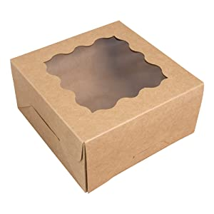15-Pack Brown Bakery Boxes with Window 6x6x3 - Treat Boxes - Easy to Assemble Cookie Box- Pastry Boxes - Dessert Boxes - Donut Boxes with Window - Baked Goods Boxes