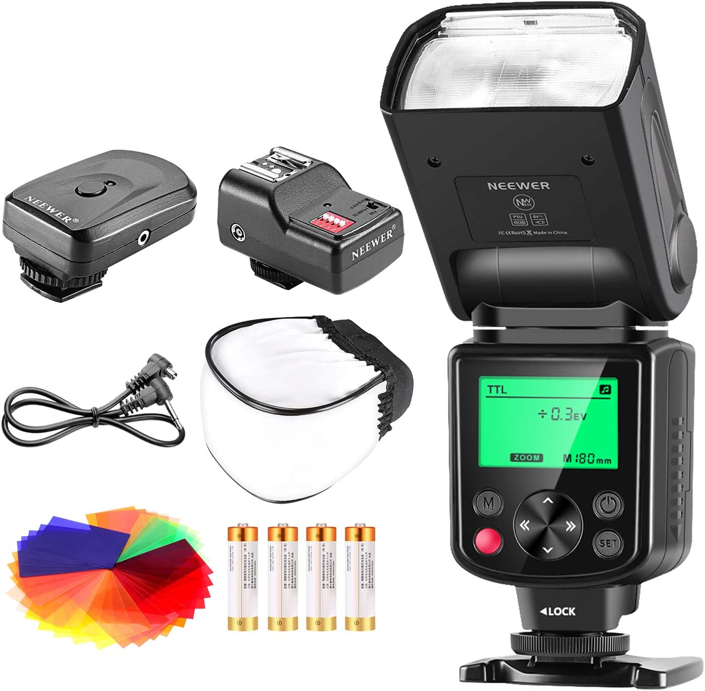 Neewer 750II TTL Flash Kit forNikon D7200 D7100 D7000 D5500 D5300 D5200 D5100 D5000 D3300 D3200 D3100 D3000 D700 D600 D500 D90 D80 D70 D60 D50 Cameras withWireless Trigger,Color Filters, Diffuser