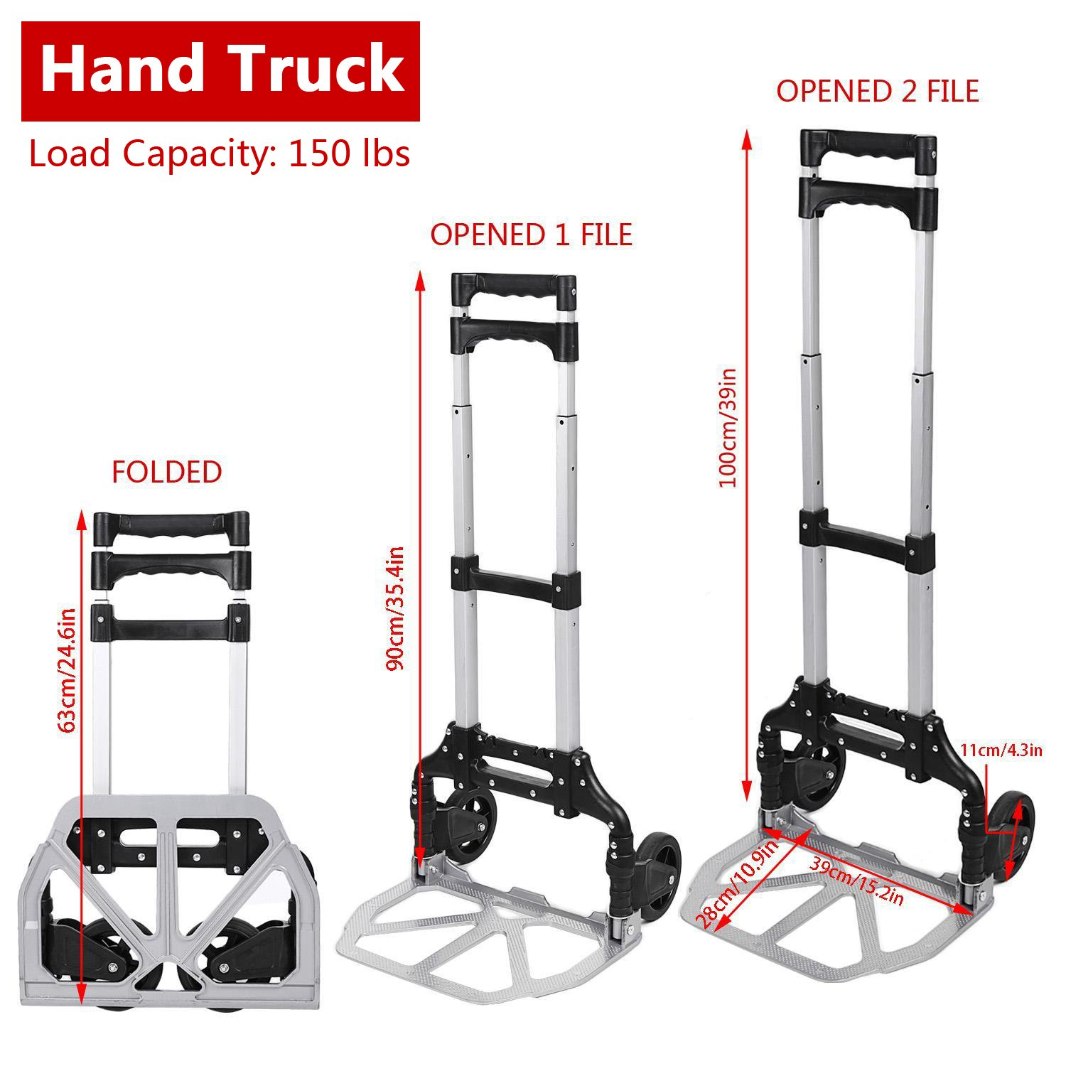 Black UK STOCK Folding Hand Truck and Dolly 75 kg Load Capacity Aluminium Alloy Utility Cart Trolley with Bungee Cords for Indoors Outdoors Travel Home Grocery Sack Truck