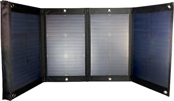 Solarpod Flexible plegable Panel Solar células solares Ballistic Nylon impermeable de 65 W 12 V – SunPower – 4,5 m plomo de carga integrado – negro: Amazon.es: Jardín
