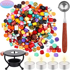 Sealing Wax, 306pcs Wax Seal Stamp Kit with Sealing Wax Beads, Wax Seal Warmer, Wax Stamp Spoon and Tealight Candles for Letter Sealing, Envelope Stamp, Crafts