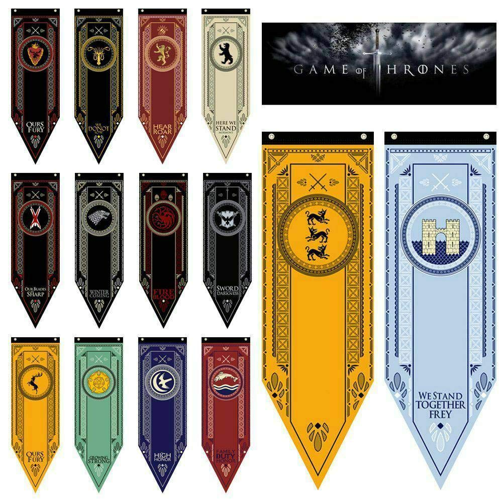 Purple GO2 Game of Thrones House Sigil Tournament Banner (18'' by 60''/45150cm)(14 Pack)