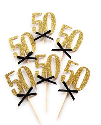 50th Birthday Party Cupcake Topper 12 Pack Number50 Toppers Decoration Glitter Gold With
