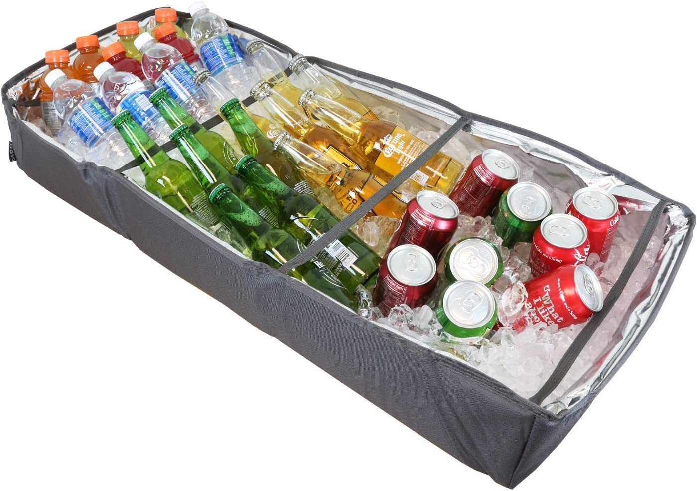 Duraviva Insulated Food & Drink Portable Foldable Party Cooler and Serving Tray for Beverages, Buffet, Picnic, BBQ, Salad Seafood Bar