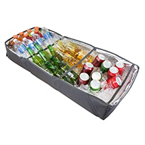 Duraviva Insulated Food & Drink Party Serving Tray Portable Foldable Cooler for Beverages, Buffet, Picnic, BBQ, Salad Seafood Bar